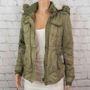 Army green faux fur hood jacket